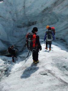 Going down into the glacier