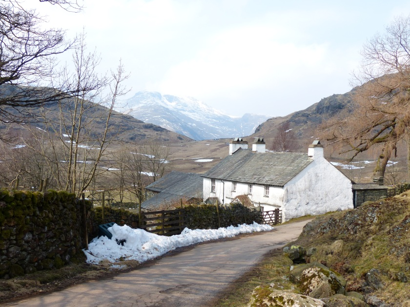 Cottage on road between Langdale and Wrynose, with thatched porch