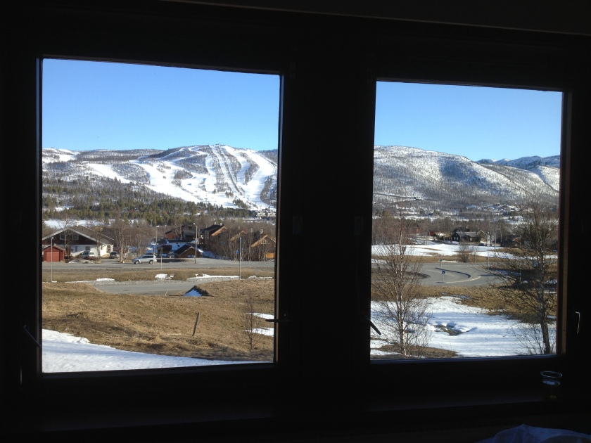 From our bedroom window at the Geilo Hotel