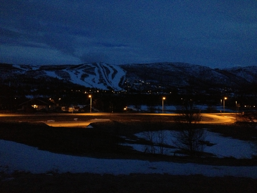Geilo ski slopes in the dark