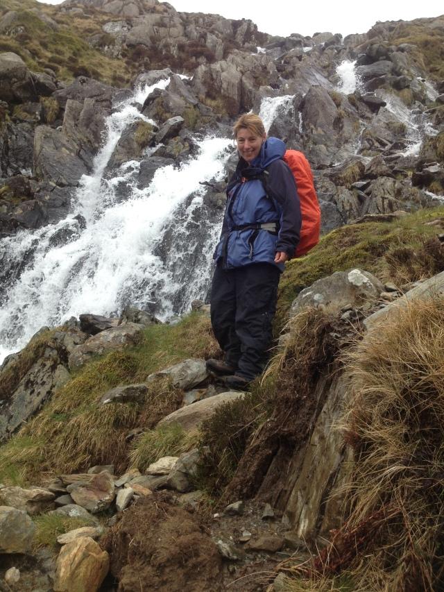 Angela descending from Llyn Bochlwyd
