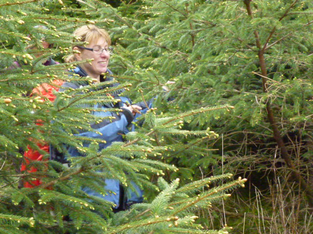 Angela emerging from the forest with her eyes shut!