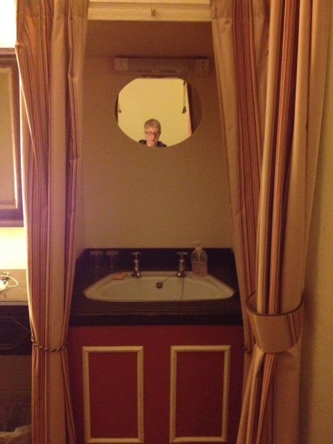 My wash basin can be hidden behind discreet curtain!