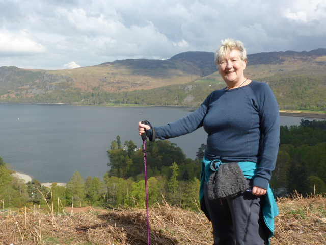 Chris with Derwent Water after exertions on Catbells