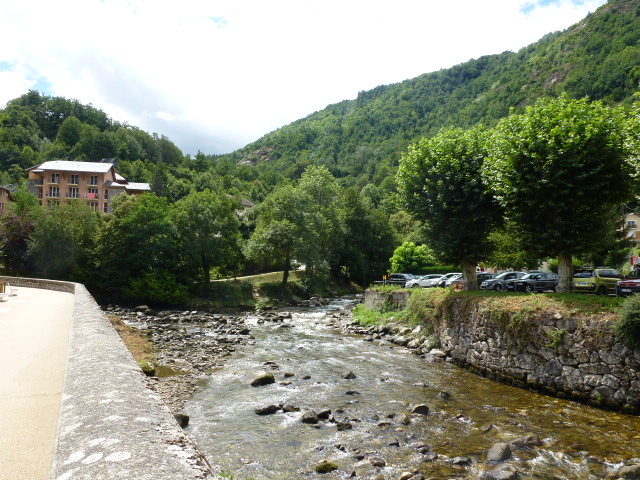 The meeting of the Ariege and the Oriege rivers